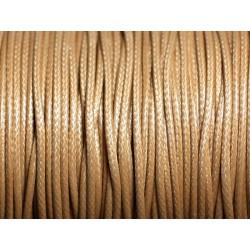 5 mètres - Cordon coton ciré enduit Rond 1.5mm Beige - 4558550088420