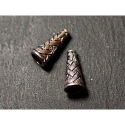 10pc - Apprêts Cônes coupelles Métal argenté Croisillons Ethnique Celtique 18mm - 8741140010475
