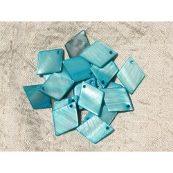 10pc - Perles Breloques Pendentifs Nacre Losanges 21mm Bleu Turquoise - 4558550004475