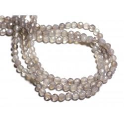 20pc - Perles de Pierre - Agate grise Boules facettées 4mm - 8741140000223