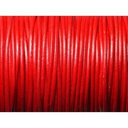 20 cm - Cordon Cuir Véritable Italien Qualité 1.5mm Rouge - 8741140010406