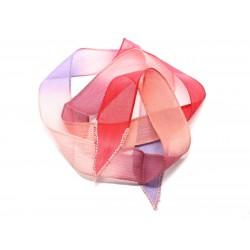 Collier Ruban Soie teint à la main 85 x 2.5cm Rose Saumon Mauve Rouge (ref SOIE154) 4558550002785