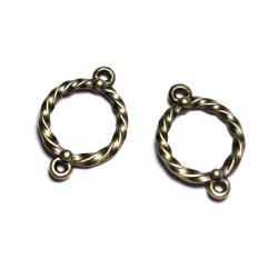 10pc - Apprêts Connecteurs Métal Bronze qualité Cercles Anneaux Torsades 22mm - 8741140003675