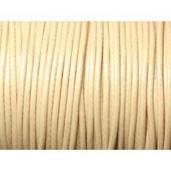 5 mètres - Cordon coton ciré enduit qualité 2mm Jaune Pastel Crème Ivoire - 8741140010314