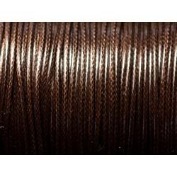 5 mètres - Cordon coton ciré enduit qualité 2mm Marron Brun Café - 8741140010307