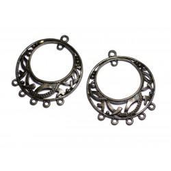 4pc - Apprêts Connecteurs Métal Bronze qualité Cercles Créoles Arabesques 40mm - 8741140003699