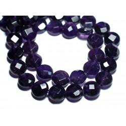 2pc - Perles de Pierre - Améthyste Palets Facettés 10mm - 8741140007642