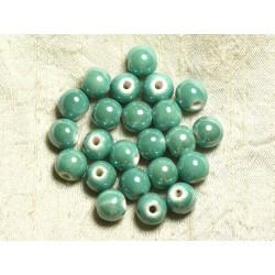10pc - Perles Porcelaine Céramique Vert Turquoise irisé Boules 10mm - 4558550006110