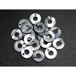 10pc - Perles Breloques Pendentifs Nacre Cercles 15mm Gris Noir - 4558550002013