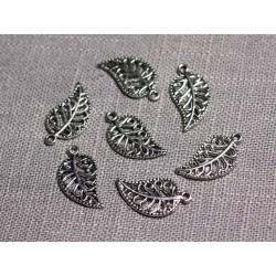 20pc - Pendentifs Breloques Métal argenté Feuilles arabesques 18mm - 4558550095077