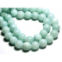 10pc - Perles de Pierre - Jade Boules 10mm Vert Clair Turquoise Pastel - 4558550006530