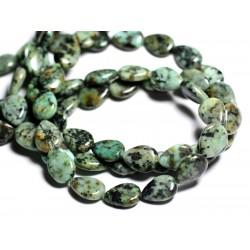 4pc - Perles de Pierre - Turquoise d'Afrique Gouttes 14x10mm - 4558550092960