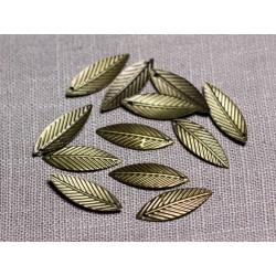 30pc - Pendentifs Breloques Métal Bronze Feuilles 21mm - 4558550095107