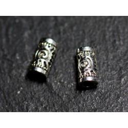 50pc - Perles Métal argenté qualité Tubes 7mm Soleil Spirale - 8741140003620