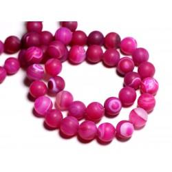 4pc - Perles de Pierre - Agate rose Mat Boules 12mm - 8741140000544