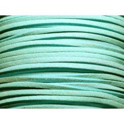5 mètres - Cordon Lanière Suédine 3x1.5mm Bleu Turquoise 4558550004697