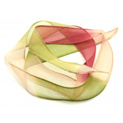 1pc - Collier Ruban Soie teint à la main 85 x 2.5cm Rose clair Framboise Kaki (ref SOIE168) 4558550001672
