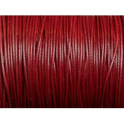5 Mètres - Fil Cordon Coton Ciré enduit 1mm Rouge Bordeaux - 4558550016492