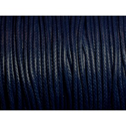 5 mètres - Cordon Coton Ciré 2mm Bleu Marine - 4558550016089