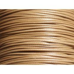 5 Mètres - Cordon de Coton Ciré 1mm Beige - 4558550037725