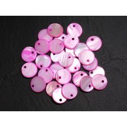 10pc - Perles Breloques Pendentifs Nacre Ronds Palets 11mm Rose 4558550005182
