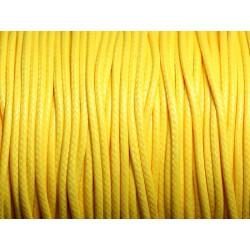5 mètres - Cordon coton ciré enduit Rond 1.5mm Jaune - 4558550088413
