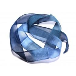 Collier Ruban Soie teint à la main 85 x 2.5cm Bleu clair Marine Nuit SOIE182 - 8741140003347