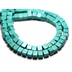 40pc - Perles Turquoise Synthèse reconstituée Cubes 4mm Bleu Turquoise - 8741140009080