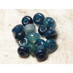 3pc - Perle Pierre perçage 5mm - Agate Bleue Rondelle Facettée 14mm 4558550027481