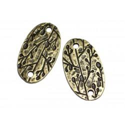 2pc - Apprêts Connecteurs Métal Bronze qualité Plaque Ovale gravée 38mm Feuilles - 8741140003668