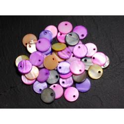 20pc - Breloques Pendentifs Nacre Ronds Palets 11mm Multicolores - 4558550002242