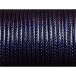 3 mètres - Cordon Coton Ciré 3mm Bleu Nuit - 4558550009975