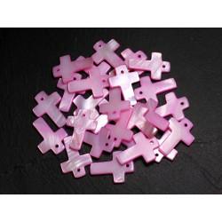 4pc - Perles Pendentifs Breloques Nacre Croix 22mm Rose clair - 8741140003453