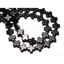 20pc - Perles Turquoise Synthèse reconstituée Croix 8mm Noir - 8741140008984