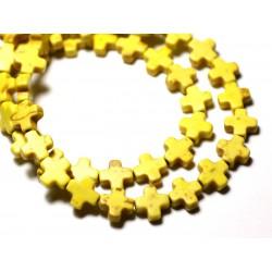 20pc - Perles Turquoise Synthèse reconstituée Croix 8mm Jaune - 8741140009004