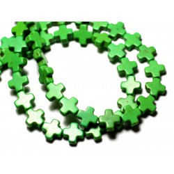 20pc - Perles Turquoise Synthèse reconstituée Croix 8mm Vert - 8741140009042