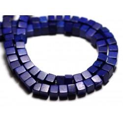 40pc - Perles Turquoise Synthèse reconstituée Cubes 4mm Bleu nuit - 8741140009097