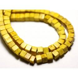 40pc - Perles Turquoise Synthèse reconstituée Cubes 4mm Jaune - 8741140009103