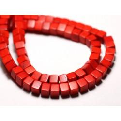 40pc - Perles Turquoise Synthèse reconstituée Cubes 4mm Orange - 8741140009110
