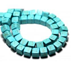 20pc - Perles Turquoise Synthèse reconstituée Cubes 8mm Bleu Turquoise - 8741140009189