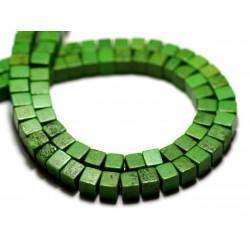 40pc - Perles Turquoise Synthèse reconstituée Cubes 4mm Vert - 8741140009141