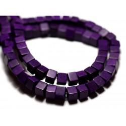 40pc - Perles Turquoise Synthèse reconstituée Cubes 4mm Violet - 8741140009158