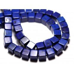20pc - Perles Turquoise Synthèse reconstituée Cubes 8mm Bleu nuit - 8741140009196