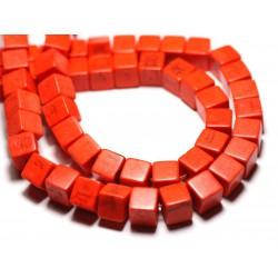 20pc - Perles Turquoise Synthèse reconstituée Cubes 8mm Orange - 8741140009219