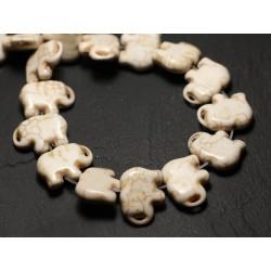 10pc - Perles Turquoise Synthèse reconstituée Elephant 19mm Blanc - 8741140009264