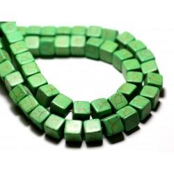 20pc - Perles Turquoise Synthèse reconstituée Cubes 8mm Vert - 8741140009240