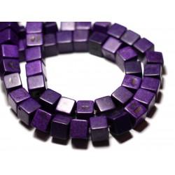 20pc - Perles Turquoise Synthèse reconstituée Cubes 8mm Violet - 8741140009257