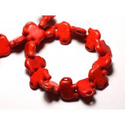 10pc - Perles Turquoise Synthèse reconstituée Elephant 19mm Orange - 8741140009318