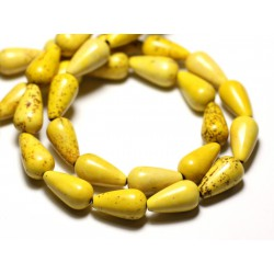 10pc - Perles Turquoise Synthèse reconstituée Gouttes 14x8mm Jaune - 8741140009400