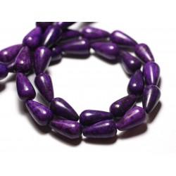 10pc - Perles Turquoise Synthèse reconstituée Gouttes 14x8mm Violet - 8741140009455